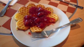 My afternoon treat. Waffle with strawberry compote.