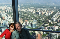 Carol & Phil high above the city of Santiago