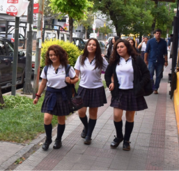 School girls heading home in Santiago
