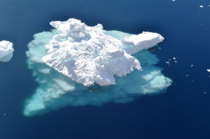This gives an idea of the mass of ice below the surface of an iceberg