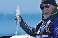 Our driver brought the Zodiac in close so Phil could snag this icicle off the edge of an iceberg