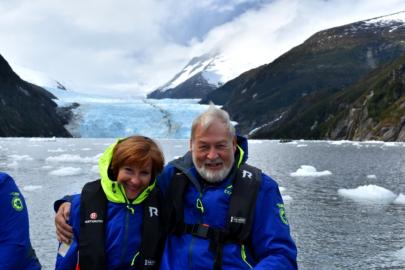 Carol and Phil in front of the Garibaldi glacier