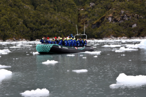 One of our zodiac among-st the ice flows