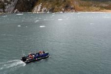Our zodiacs cruise through the fjord