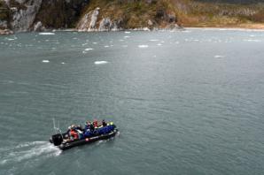 Our zodiacs cruise through the fjord
