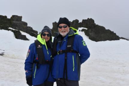 Carol & Phil at Penguin colony on Half Moon Island
