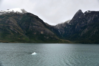 A typical scene in this region includes mountains, waterfalls, icebergs and snow caps