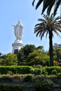 The setting for this statue high up on San Cristobal Hill was beautiful with music playing to set the mood