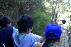 Kids enjoying the ride on the funicular