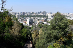 The view riding the funicular and Santiago in the distance