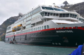 Our ship, the Midnatsol with Hurtigruten Voyages of Exploration