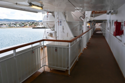 There is an outside promenade around the entire ship on deck 6, and is the place to be when we spot whales, etc.