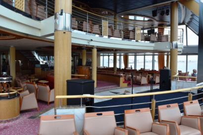 Looking at the two-story lounge at the front of the ship
