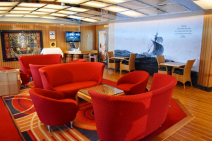 One of many seating areas around the ship. This one is outside the Amphitheater