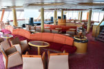 The lounge on deck 8 at the front of the ship has a 270 degree view of the seas. Note the stairs on the right take you up to the second floor with the same great view.