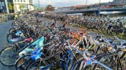 A few of the bikes parked at the train station