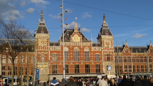 The Central Train Station in Amsterdam is a major connection point for travel throughout the Netherlands