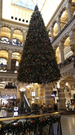 This hanging Christmas tree is probably 30 or 40 feet tall and suspended from above
