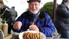 Phil with his sausages for lunch