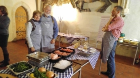 Phil & Carol with our chef before we start making sausage