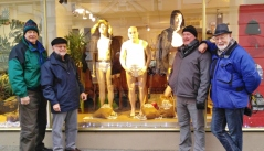 The guys pose with some very unusual underwear models. (Bill was the inspiration for the model in the middle)