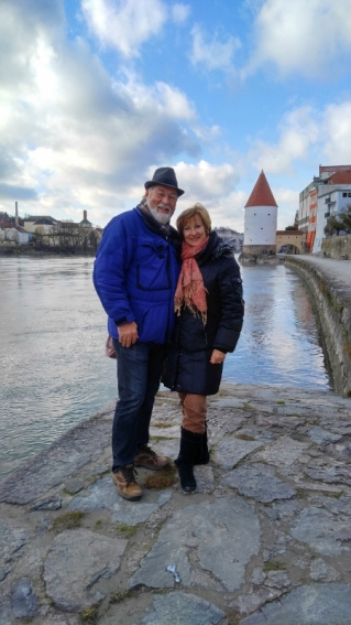 Phil & Carol along the Inn river in Passau