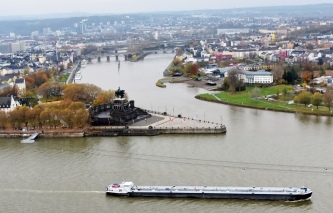 Looking down from the fortress onto the German Corner with its King William the First statue overlooking the confluence of the Mozell River with the Rhine River