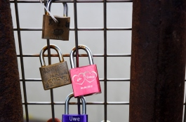 Like many places in Europe, lovers place their lock on the fence and throw the key in the river (but the way marriages are today, more of them should use combination locks)