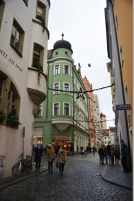 Lots of small streets full of shops and cafes in Regensburg