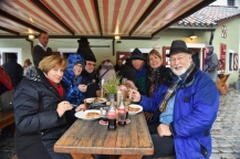 Our gang enjoys lunch at the Historic Sausage Kitchen of Regensburg