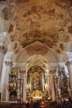 The interior of the Church of St. Catherine with its fresco ceiling .