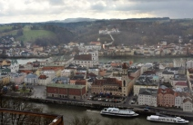 Overlooking Passau (and it's snowing)