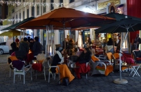 Outdoor cafes are open in the evenings even when it's in the 30's or 40's