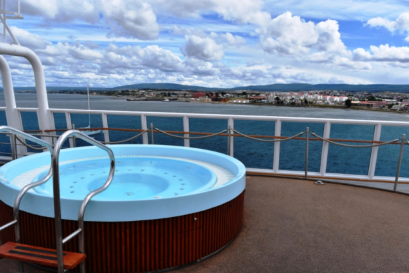 There are two Hot Tubs on the top deck
