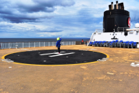 There is a helicopter pad on the front of the ship