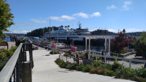 Washington State Ferry boat pulling into Friday Harbor